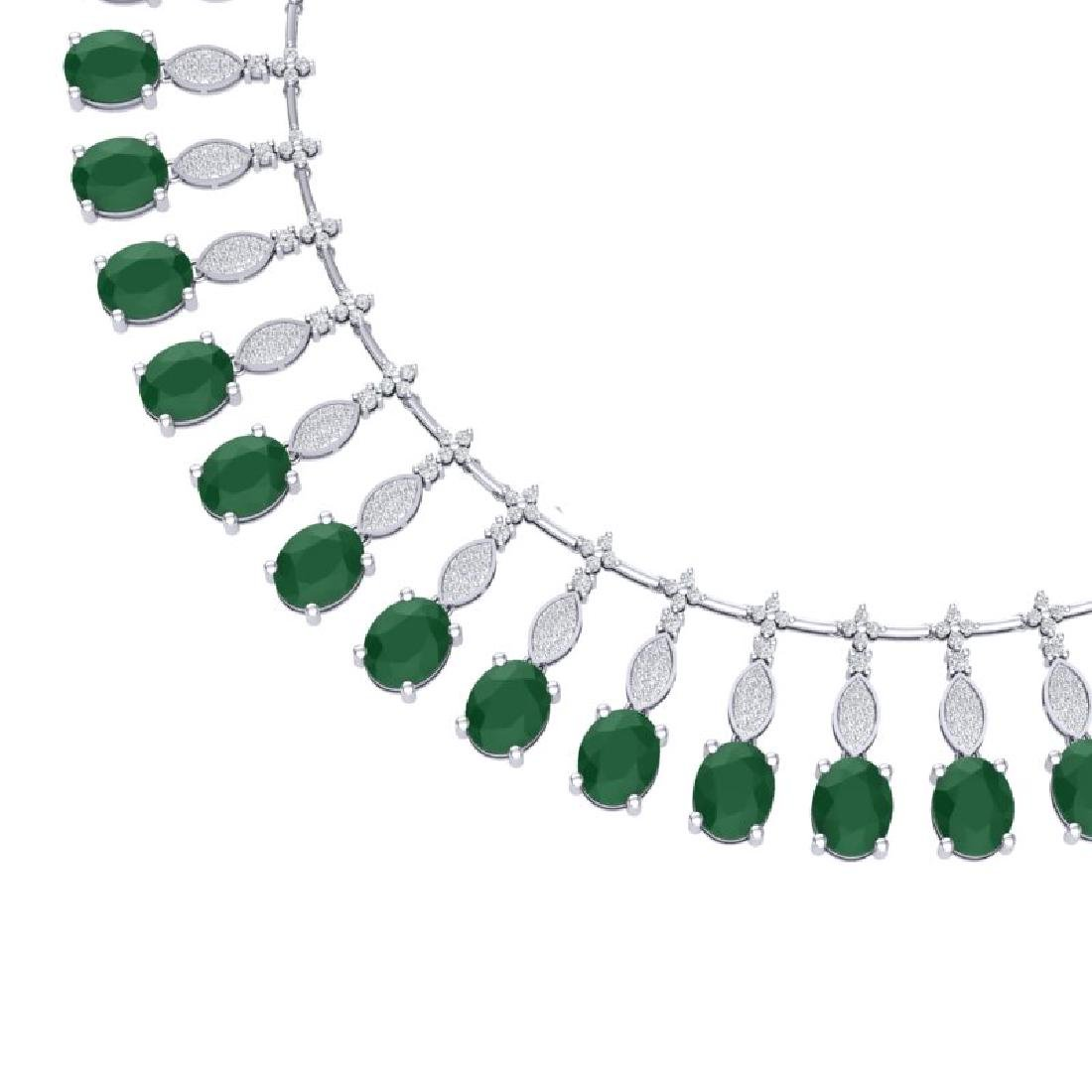 65.62 CTW Royalty Emerald & VS Diamond Necklace 18K