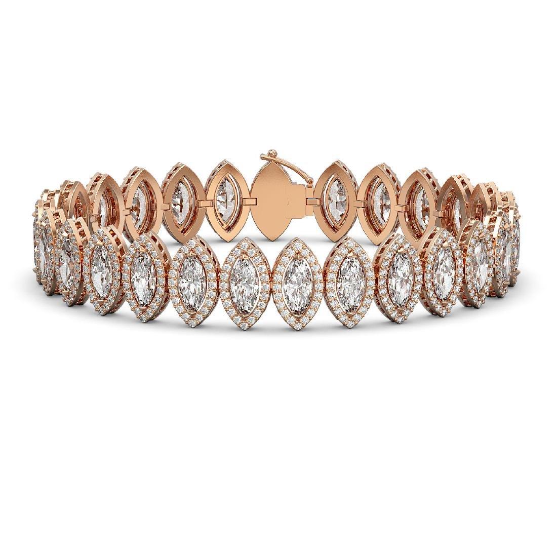 20.25 CTW Marquise Diamond Designer Bracelet 18K Rose