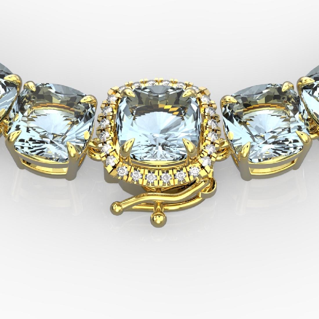 87 CTW Aquamarine & VS/SI Diamond Necklace 14K Yellow