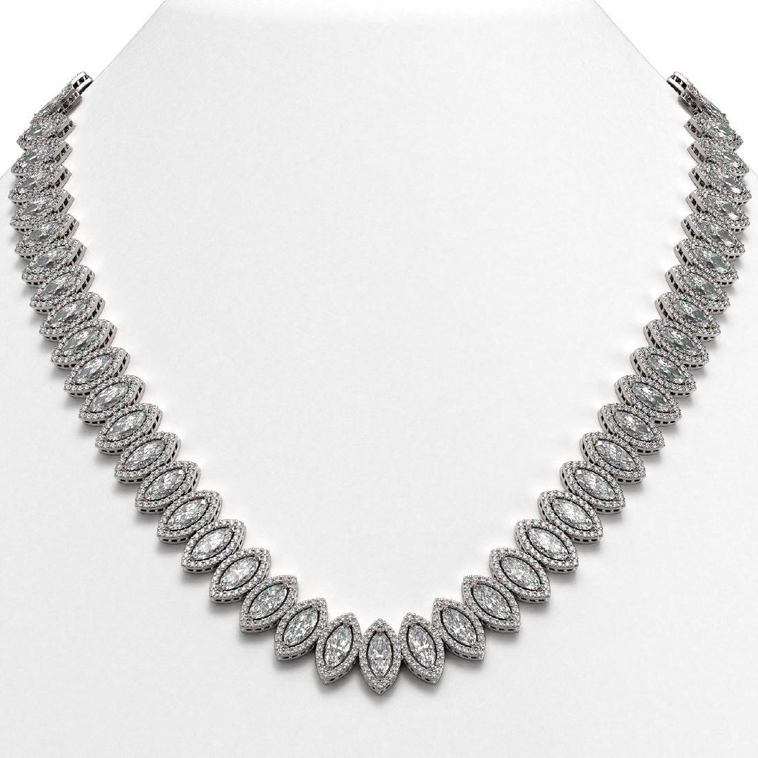 47.12 CTW Marquise Diamond Designer Necklace 18K White