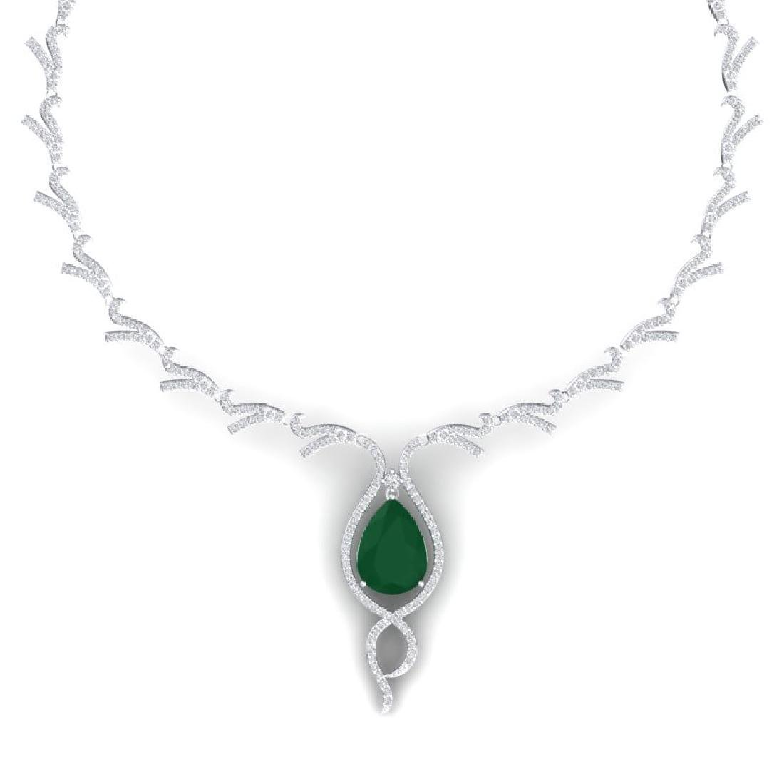 23.43 CTW Royalty Emerald & VS Diamond Necklace 18K