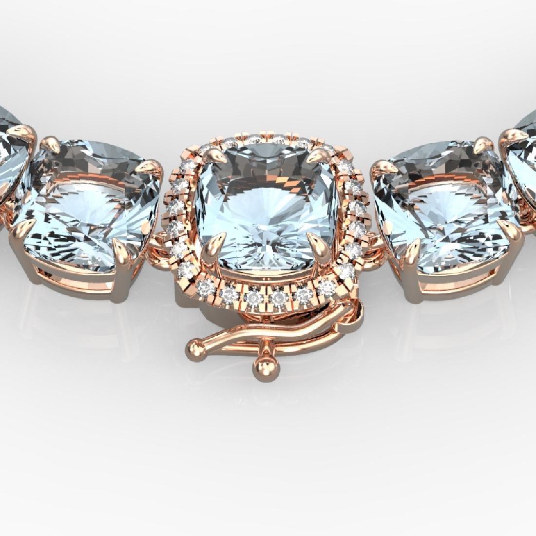 87 CTW Aquamarine & VS/SI Diamond Necklace 14K Rose