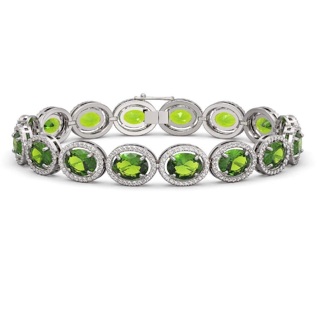 28.08 CTW Peridot & Diamond Halo Bracelet 10K White