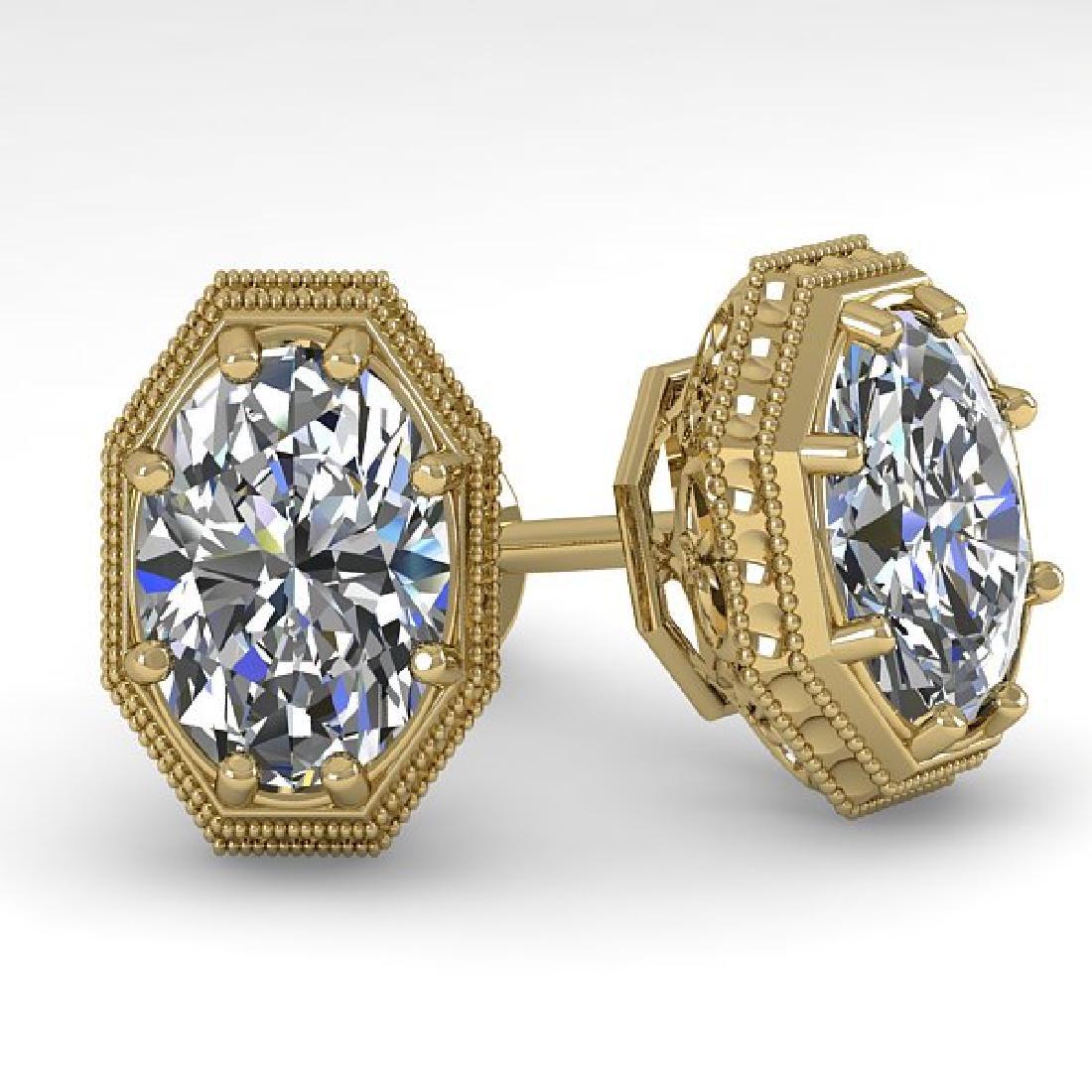 2 CTW VS/SI Oval Cut Diamond Stud Earrings 18K Yellow