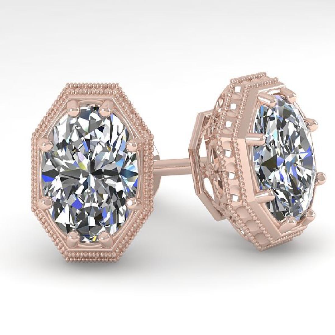 2 CTW VS/SI Oval Cut Diamond Stud Earrings 18K Rose