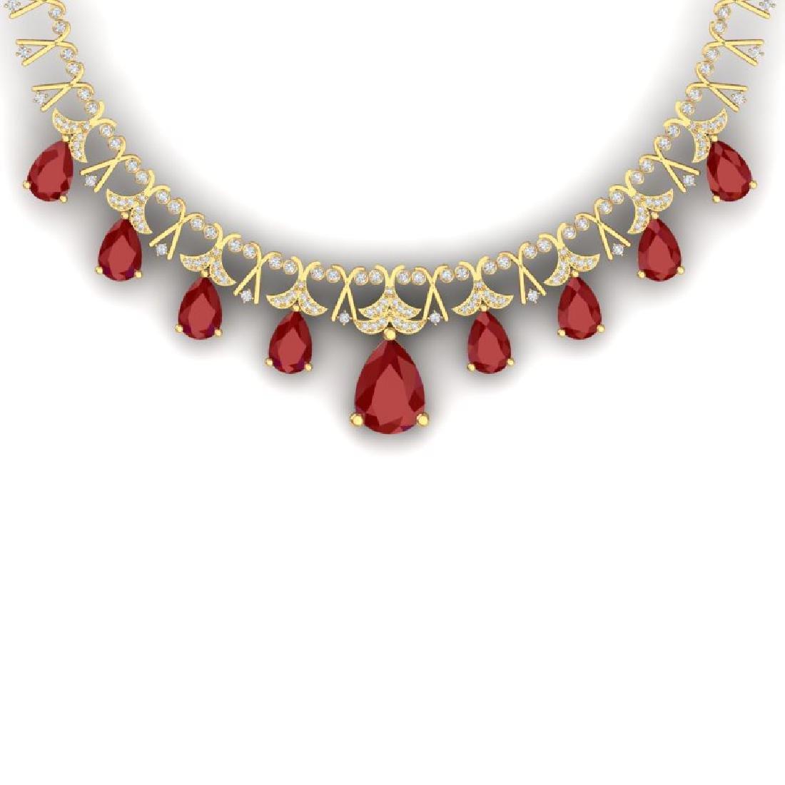 56.94 CTW Royalty Ruby & VS Diamond Necklace 18K Yellow