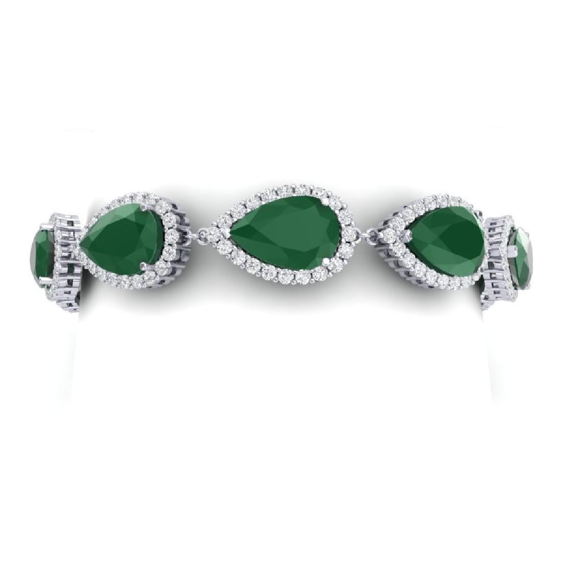 42 CTW Royalty Emerald & VS Diamond Bracelet 18K White