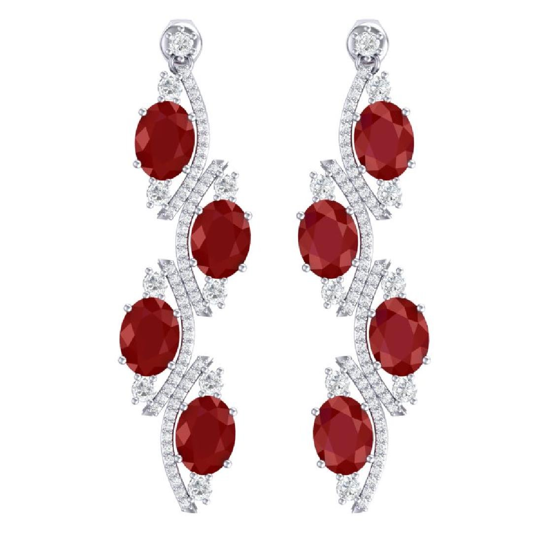 16.12 CTW Royalty Designer Ruby & VS Diamond Earrings