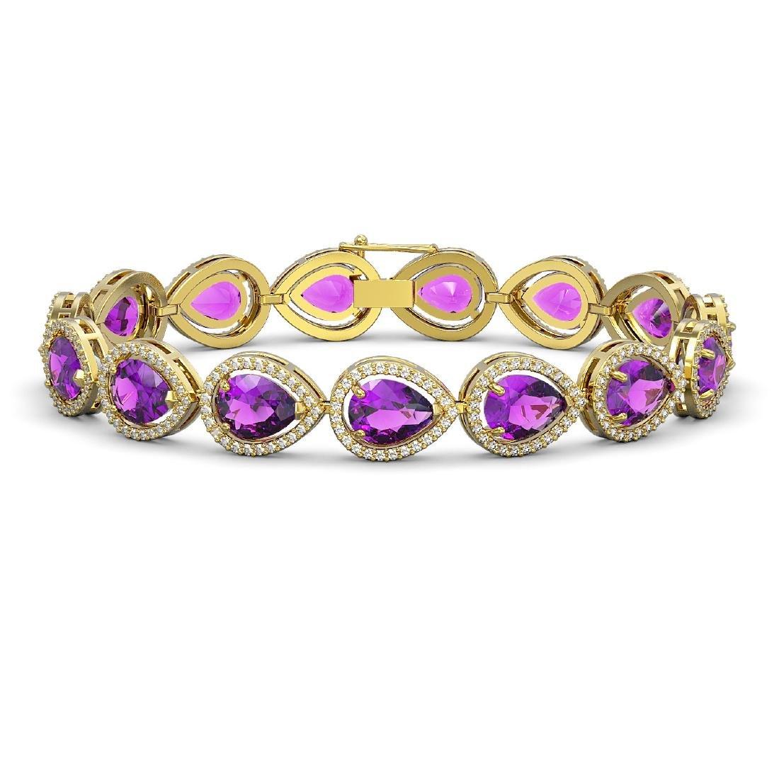 20.3 CTW Amethyst & Diamond Halo Bracelet 10K Yellow