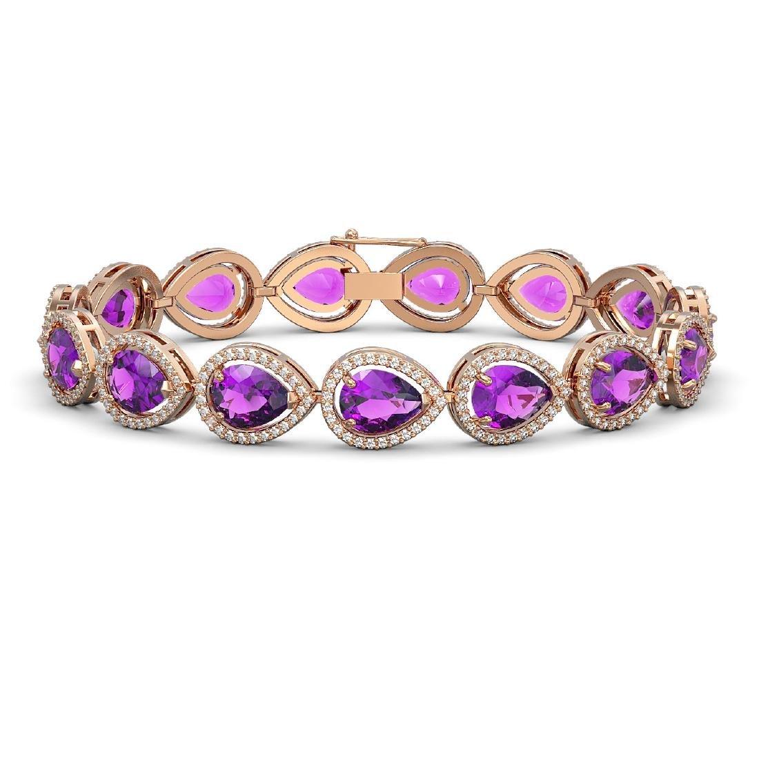 20.3 CTW Amethyst & Diamond Halo Bracelet 10K Rose Gold