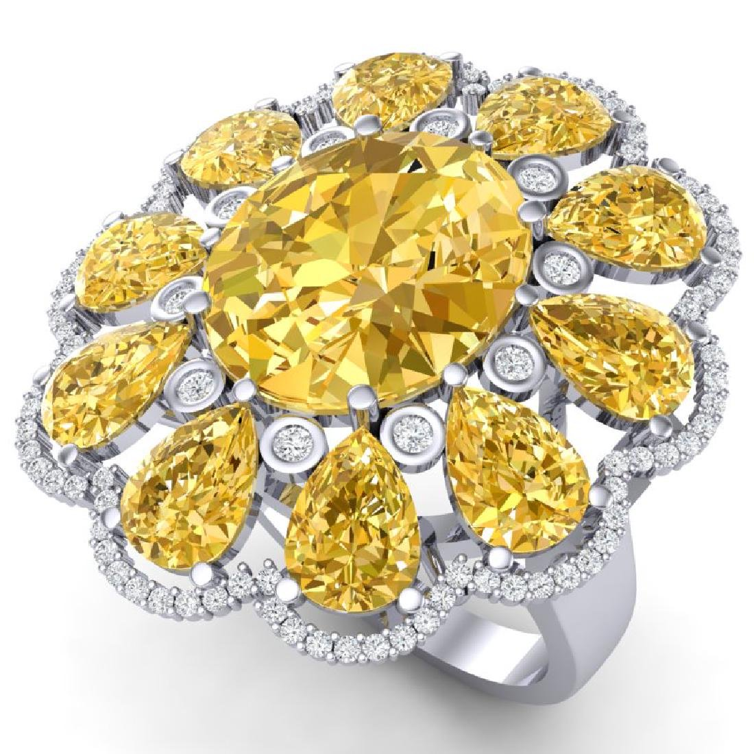 18.53 CTW Royalty Canary Citrine & VS Diamond Ring 18K