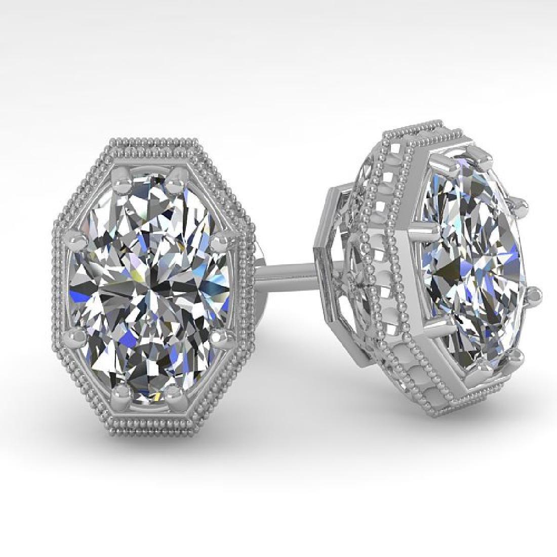 2 CTW VS/SI Oval Cut Diamond Stud Earrings 18K White