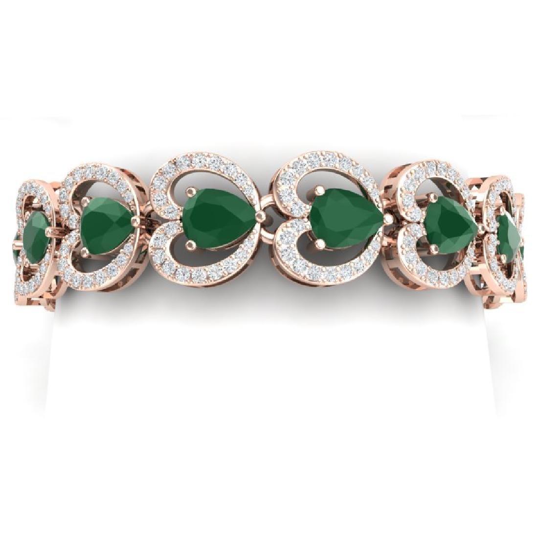 32.15 CTW Royalty Emerald & VS Diamond Bracelet 18K