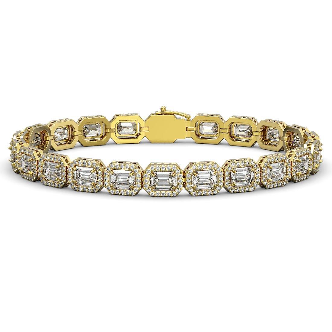 16.72 CTW Emerald Cut Diamond Designer Bracelet 18K