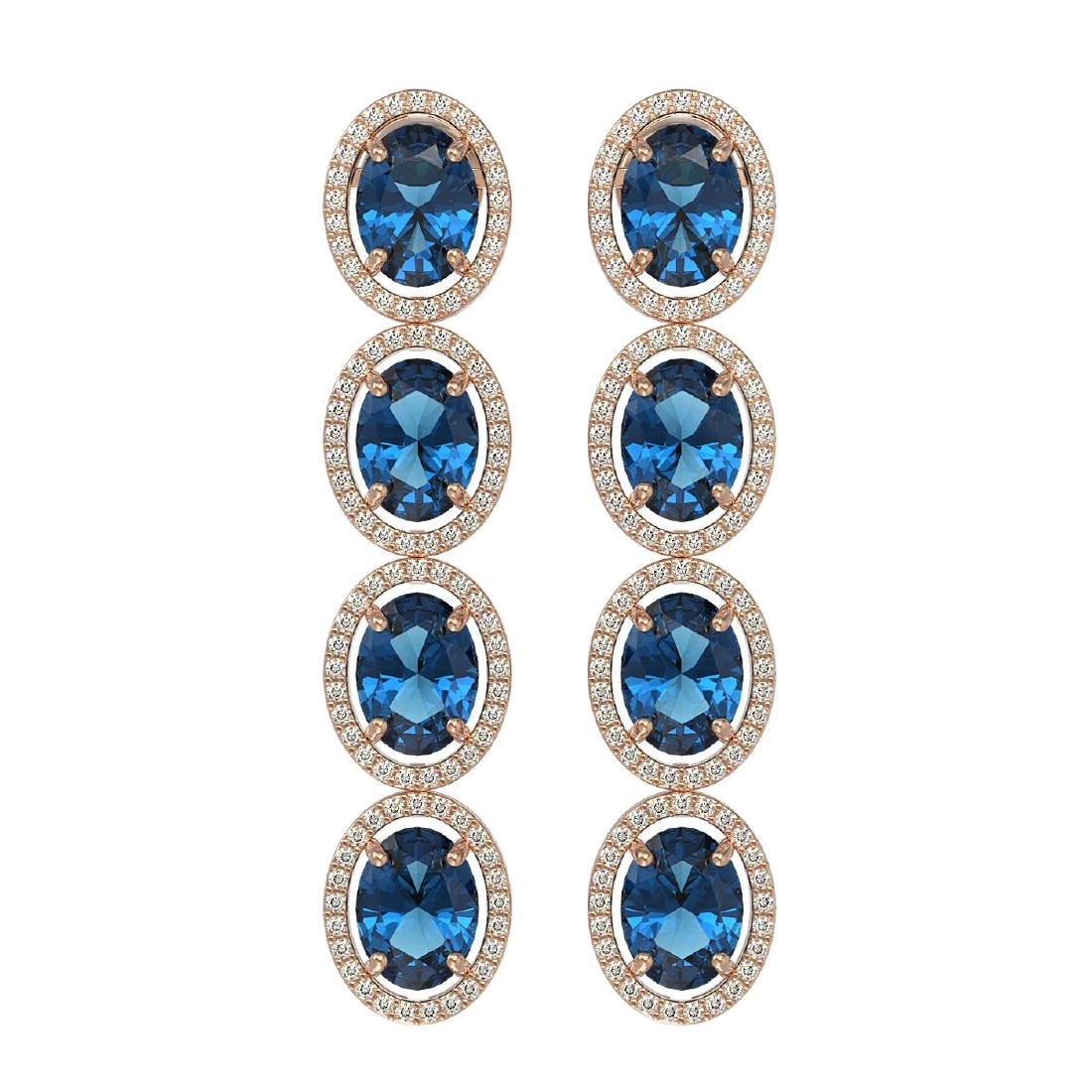 14.76 CTW London Topaz & Diamond Halo Earrings 10K Rose