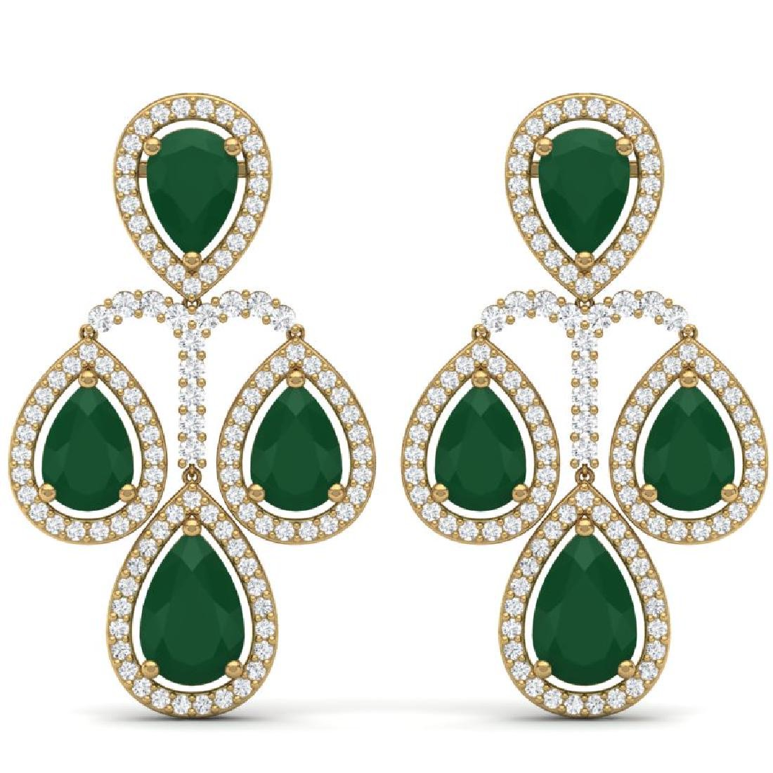 29.23 CTW Royalty Emerald & VS Diamond Earrings 18K
