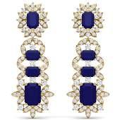 3025 CTW Royalty Sapphire  VS Diamond Earrings 18K