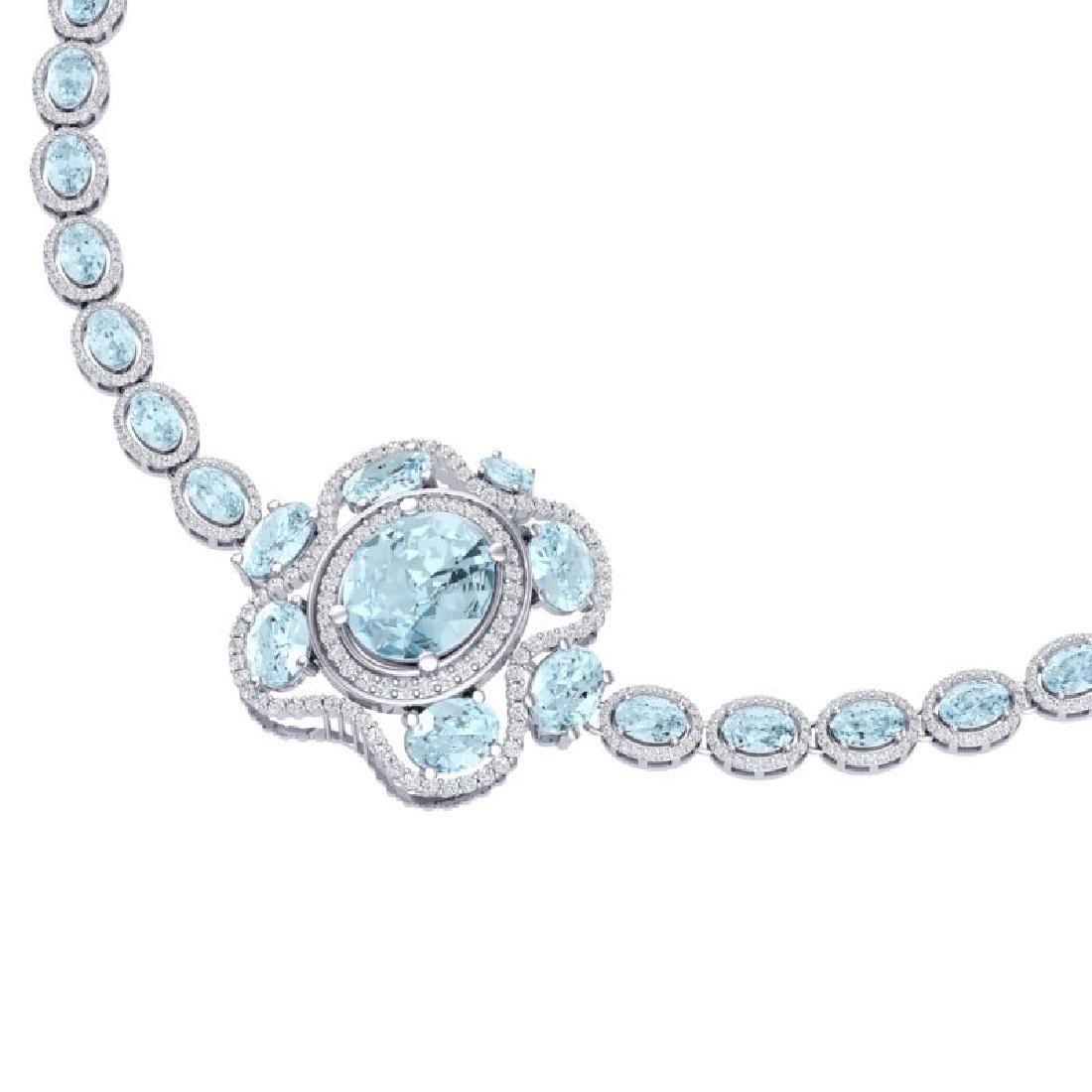 47.72 CTW Royalty Sky Topaz & VS Diamond Necklace 18K