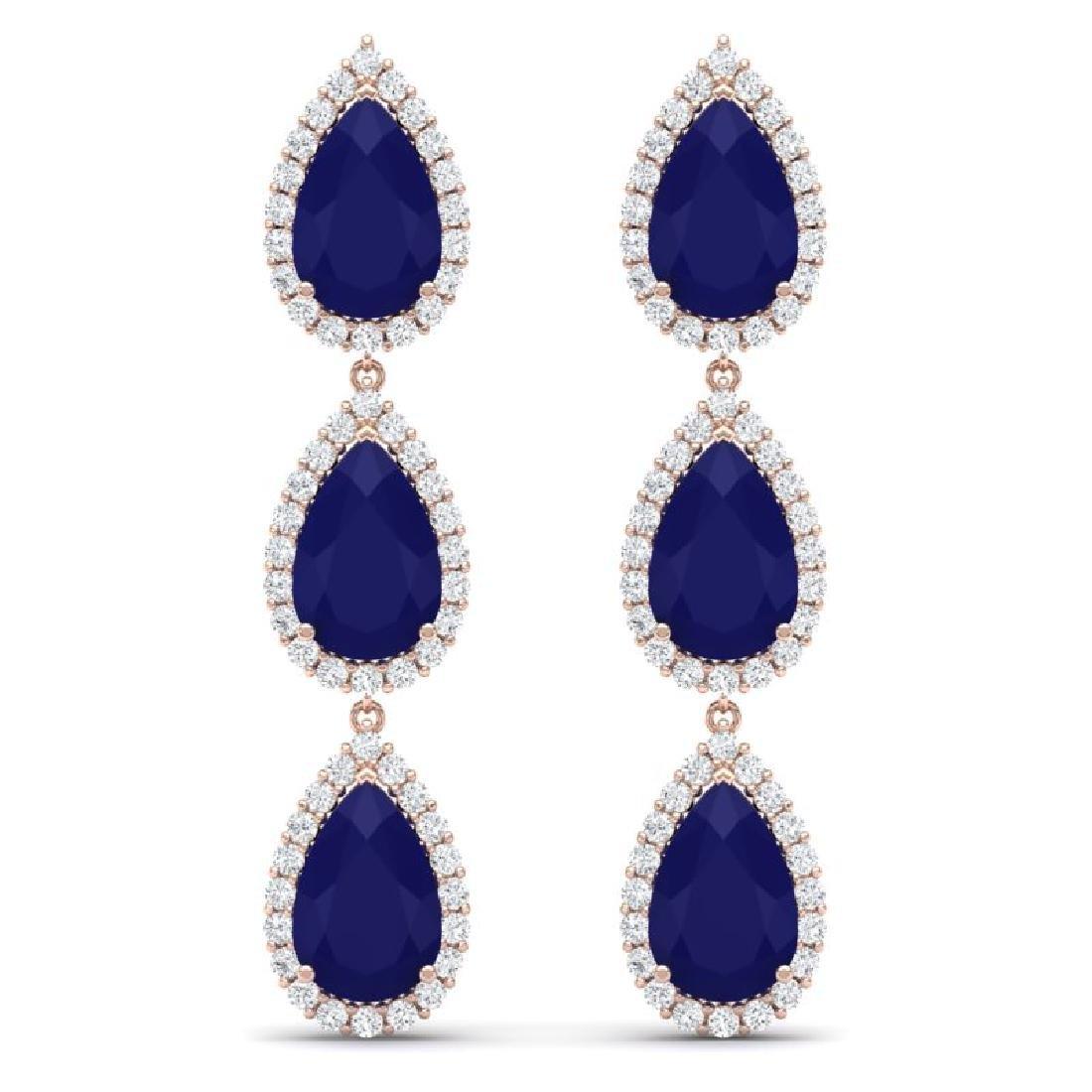 27.06 CTW Royalty Sapphire & VS Diamond Earrings 18K