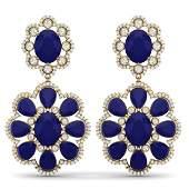 3388 CTW Royalty Sapphire  VS Diamond Earrings 18K