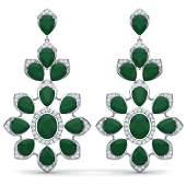 518 CTW Royalty Emerald  VS Diamond Earrings 18K