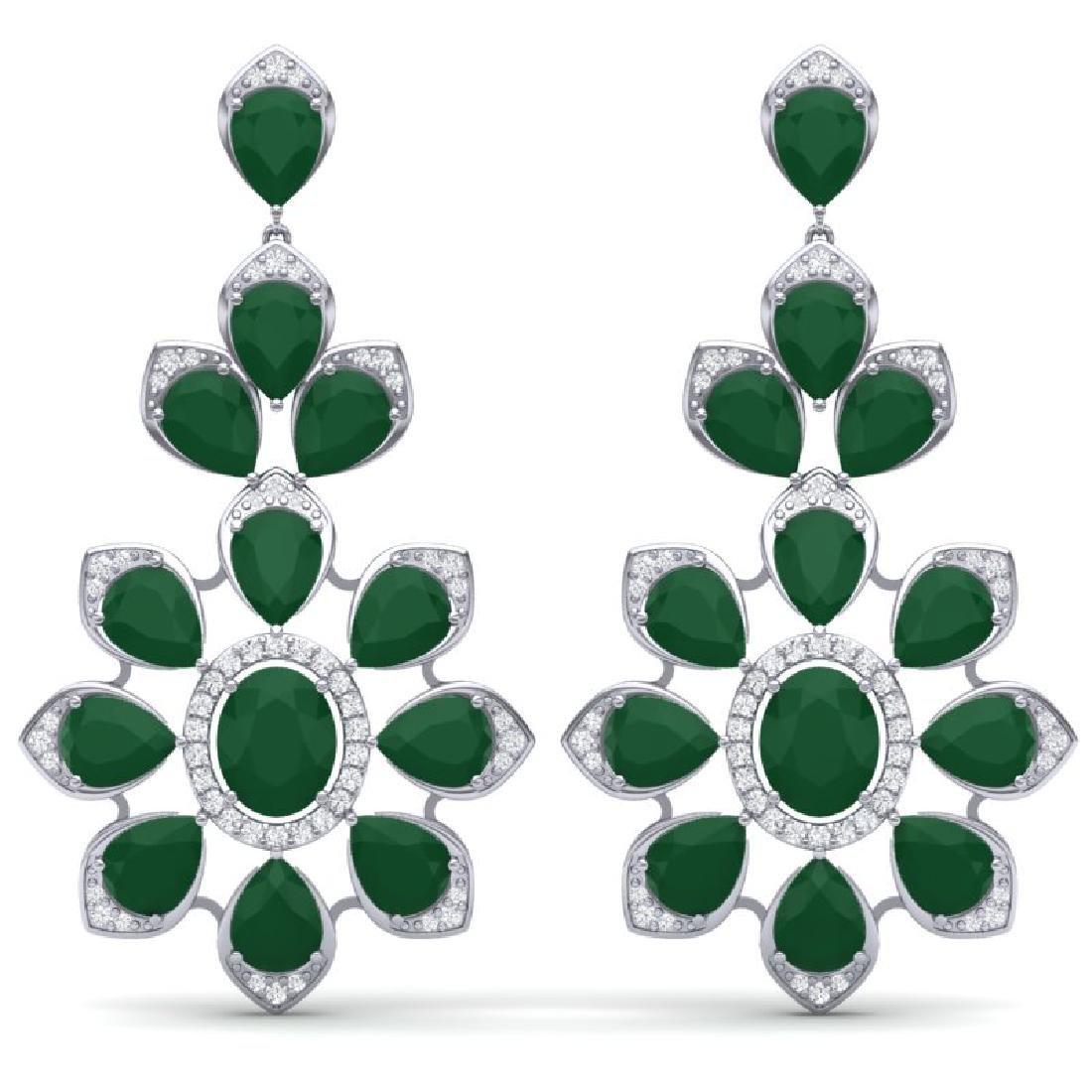 51.8 CTW Royalty Emerald & VS Diamond Earrings 18K