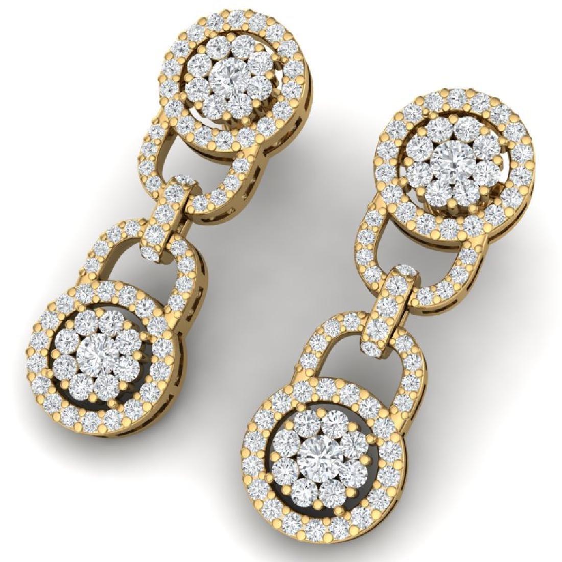 2.30 CTW Certified SI/I Diamond Halo Earrings 18K