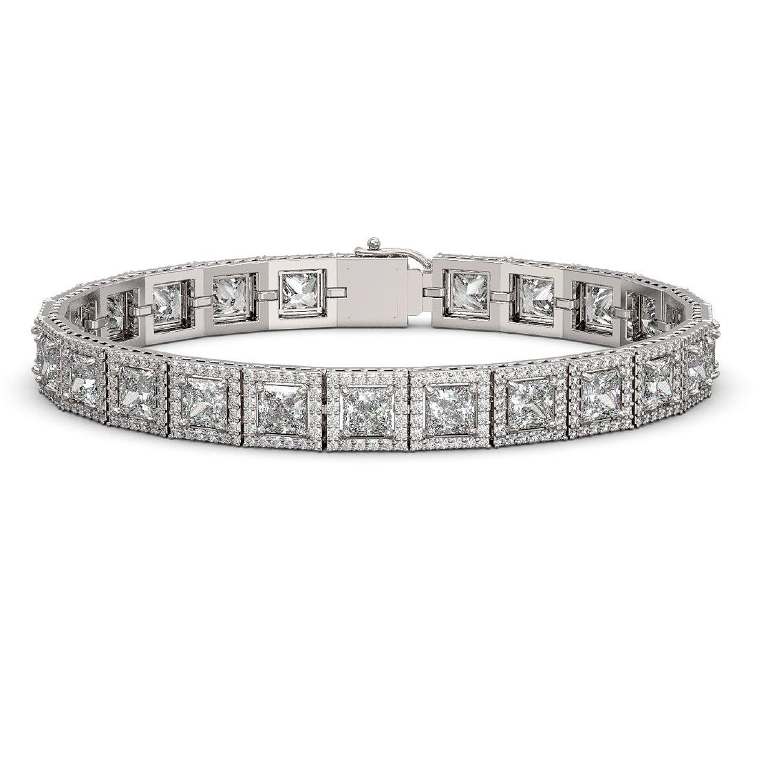 18.24 CTW Princess Diamond Designer Bracelet 18K White