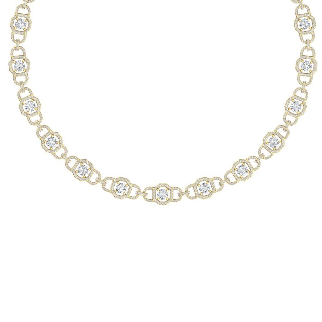 25 CTW Certified SI/I Diamond Halo Necklace 18K Yellow