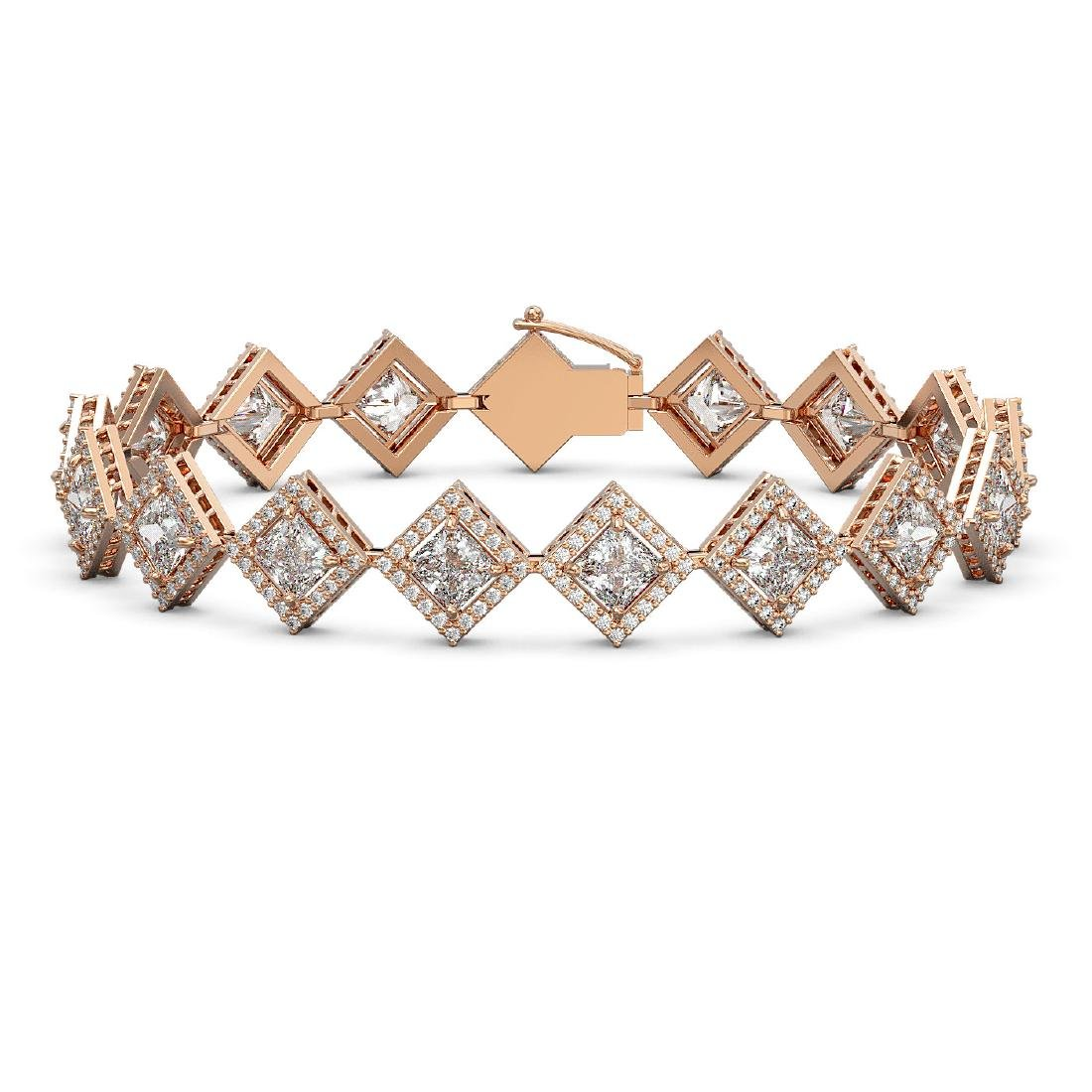 13.5 CTW Princess Cut Diamond Designer Bracelet 18K