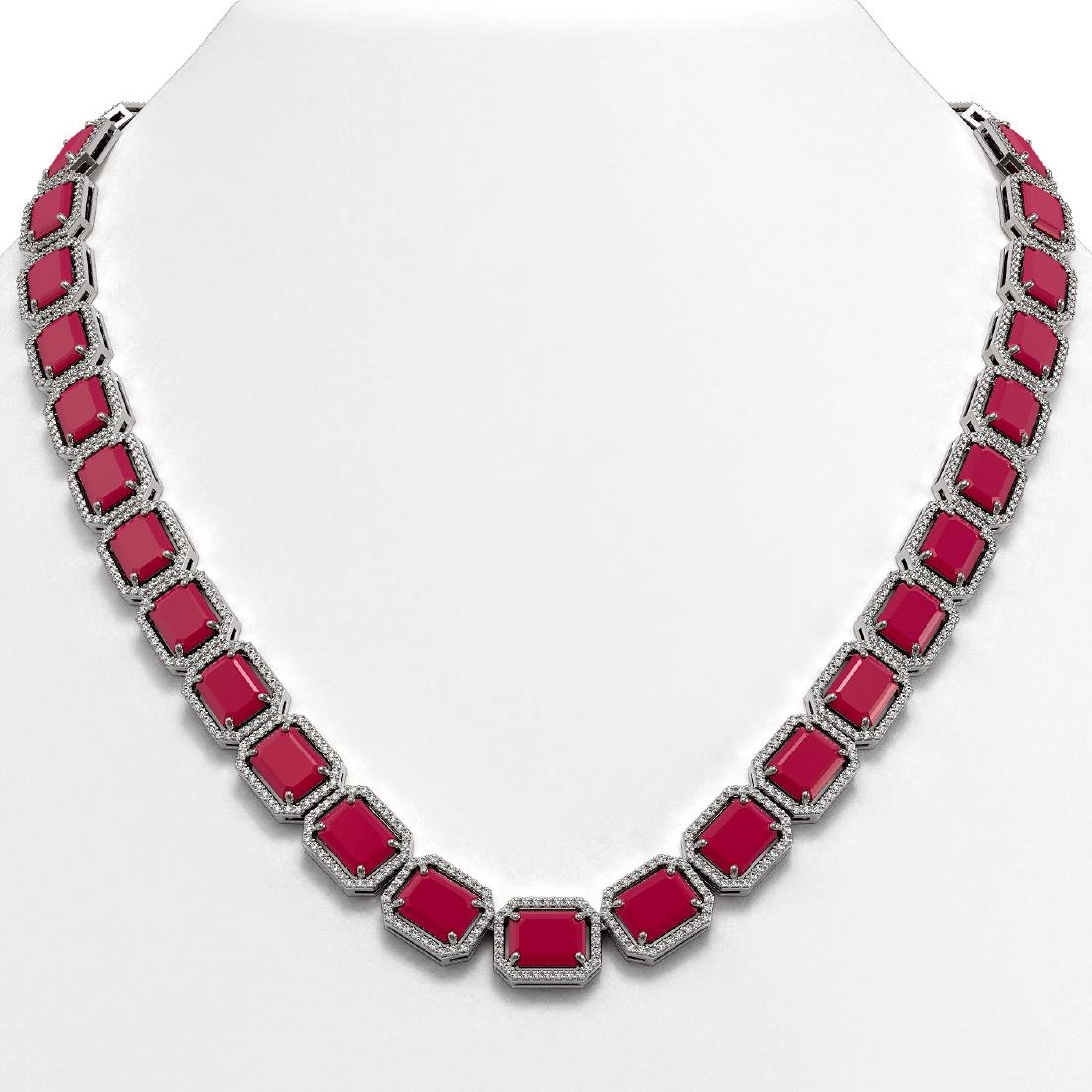 84.94 CTW Ruby & Diamond Halo Necklace 10K White Gold