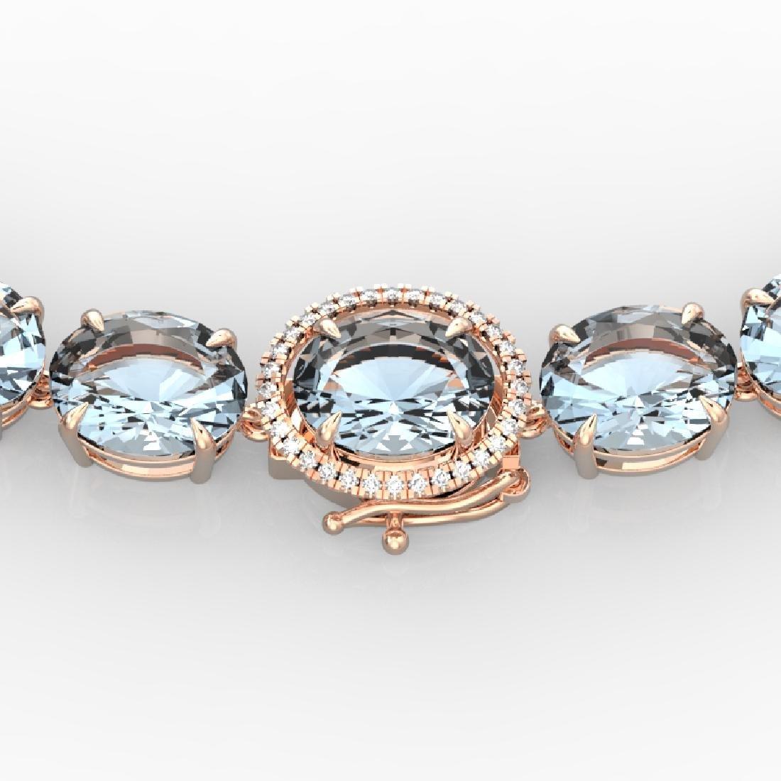 136 CTW Aquamarine & VS/SI Diamond Necklace 14K Rose