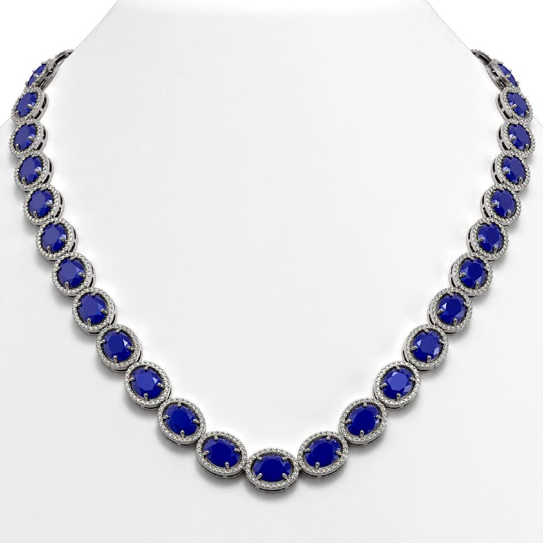 71.87 CTW Sapphire & Diamond Halo Necklace 10K White