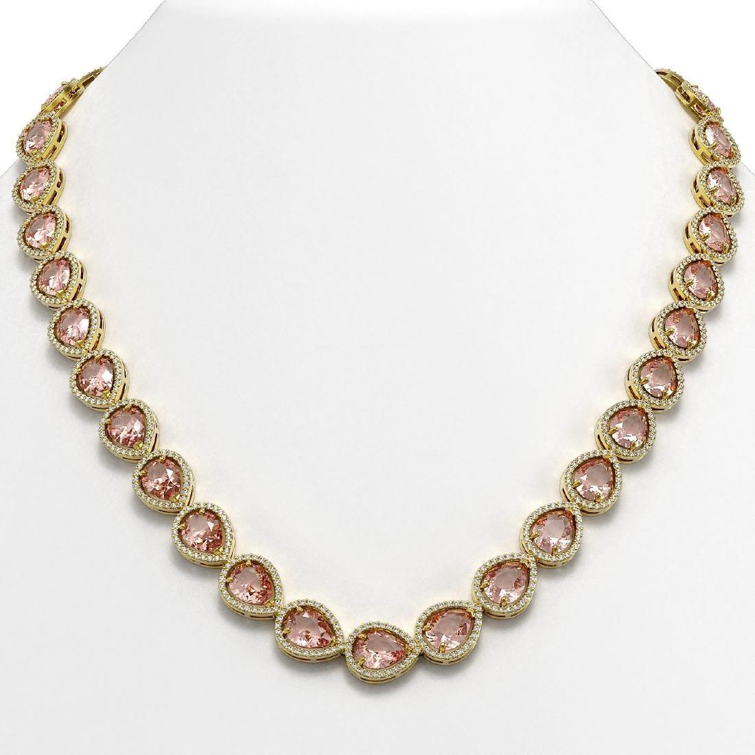 41.6 CTW Morganite & Diamond Halo Necklace 10K Yellow