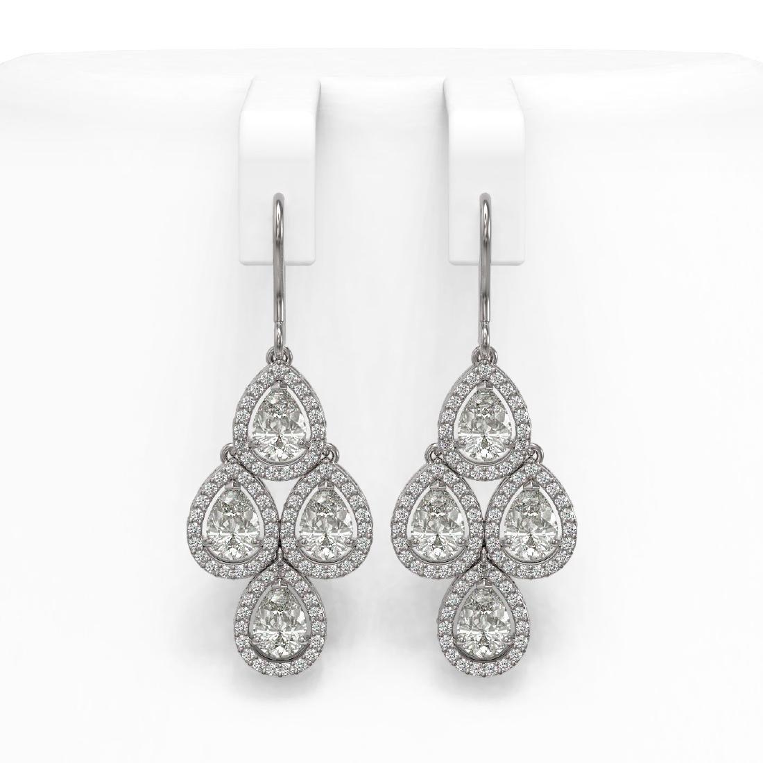 5.85 CTW Pear Diamond Designer Earrings 18K White Gold