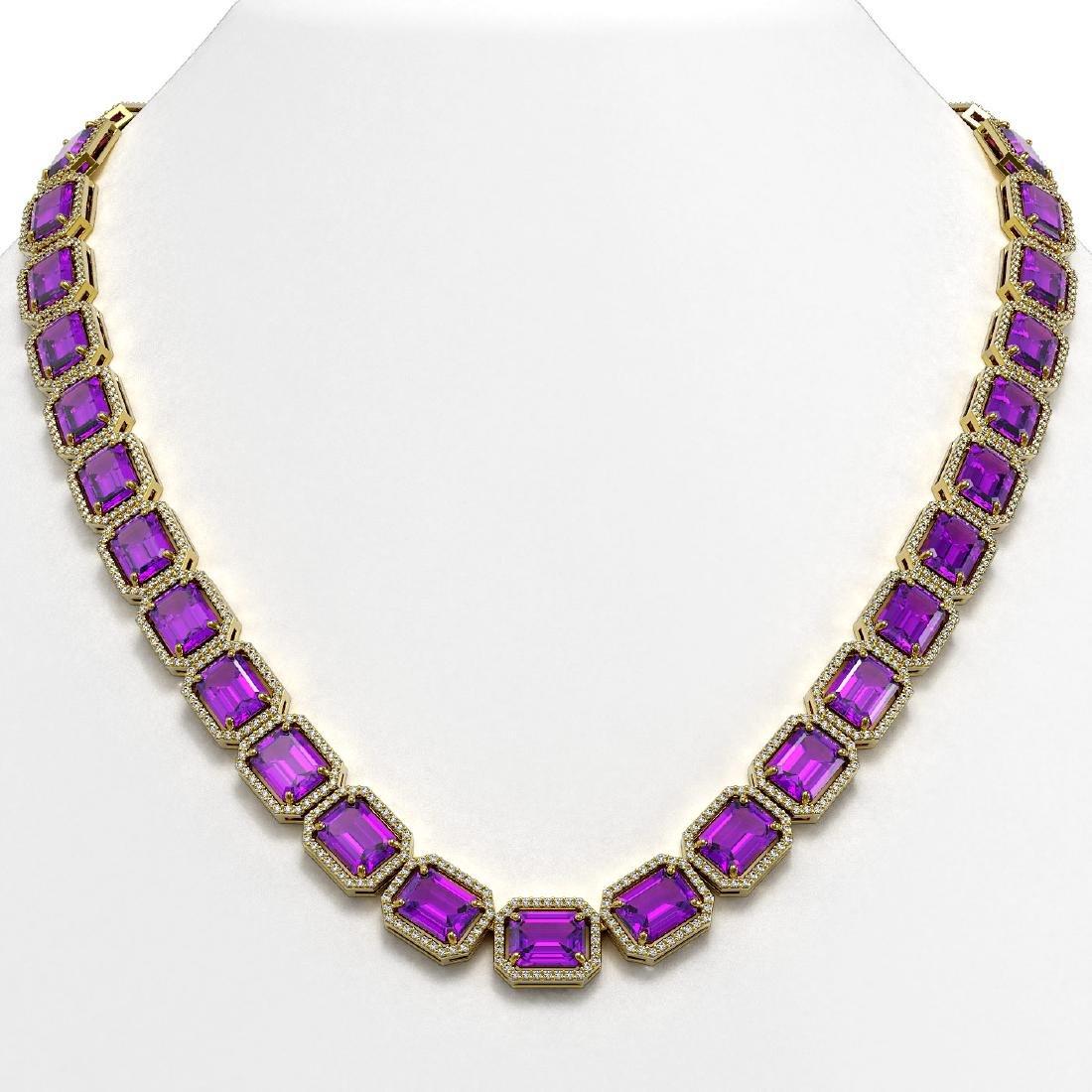76.69 CTW Amethyst & Diamond Halo Necklace 10K Yellow