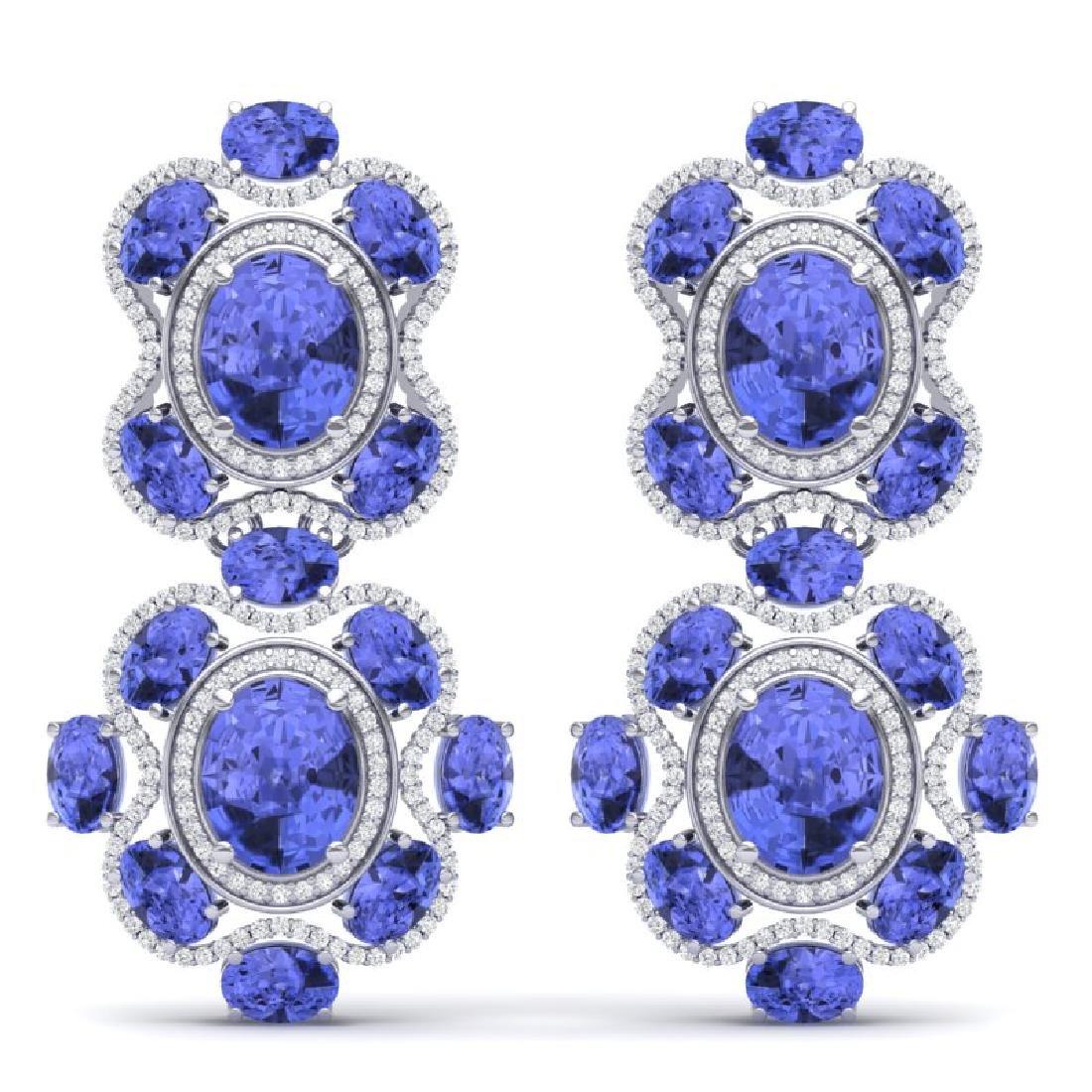33.11 CTW Royalty Tanzanite & VS Diamond Earrings 18K