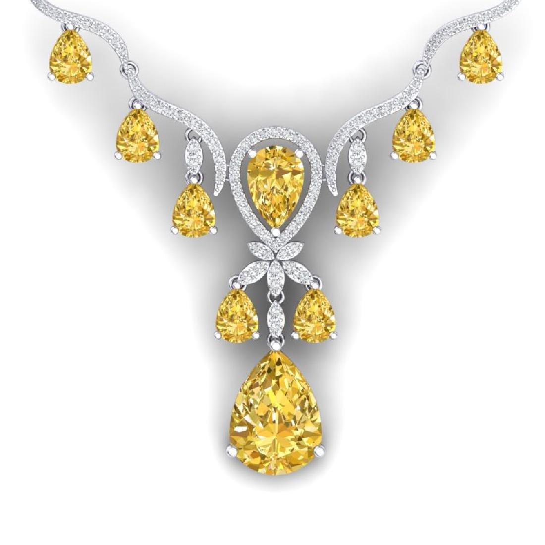 34.70 CTW Royalty Canary Citrine & VS Diamond Necklace