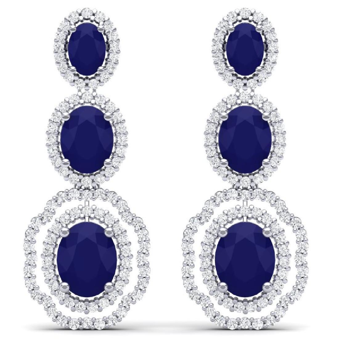 17.01 CTW Royalty Sapphire & VS Diamond Earrings 18K