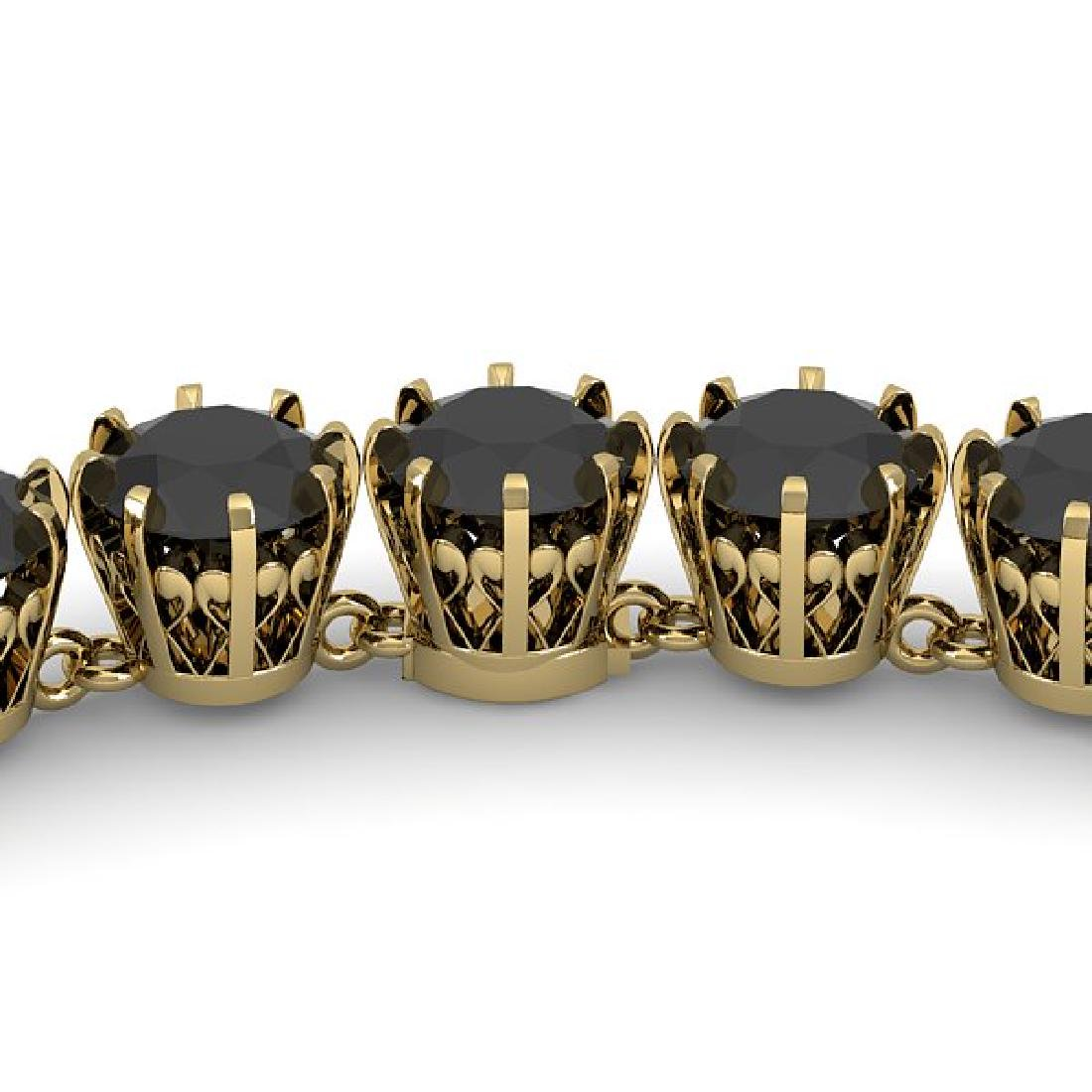34 CTW Certified Black VS Diamond Necklace 18K Yellow