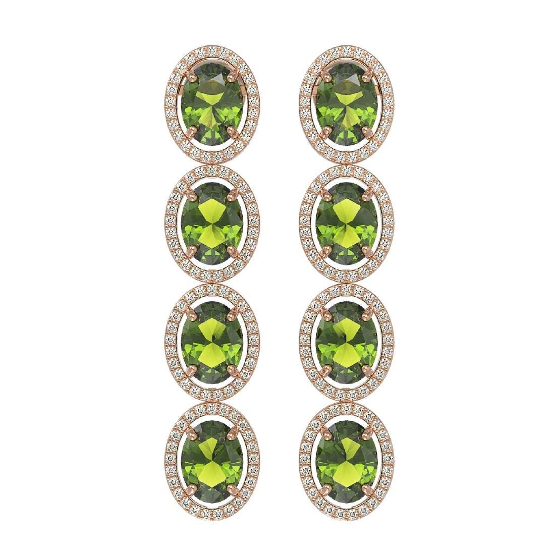 11.8 CTW Tourmaline & Diamond Halo Earrings 10K Rose