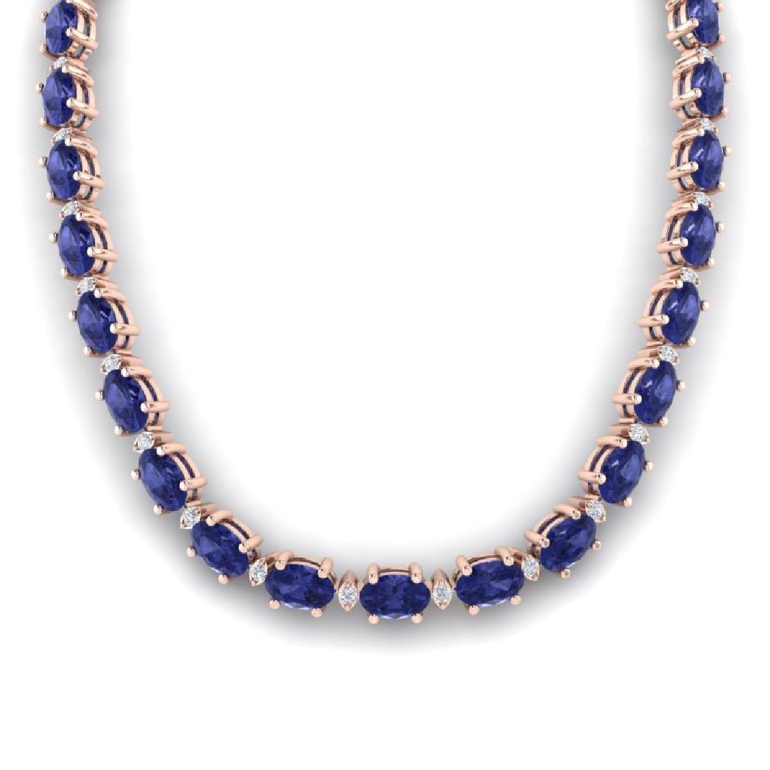 61.85 CTW Tanzanite & VS/SI Certified Diamond Necklace