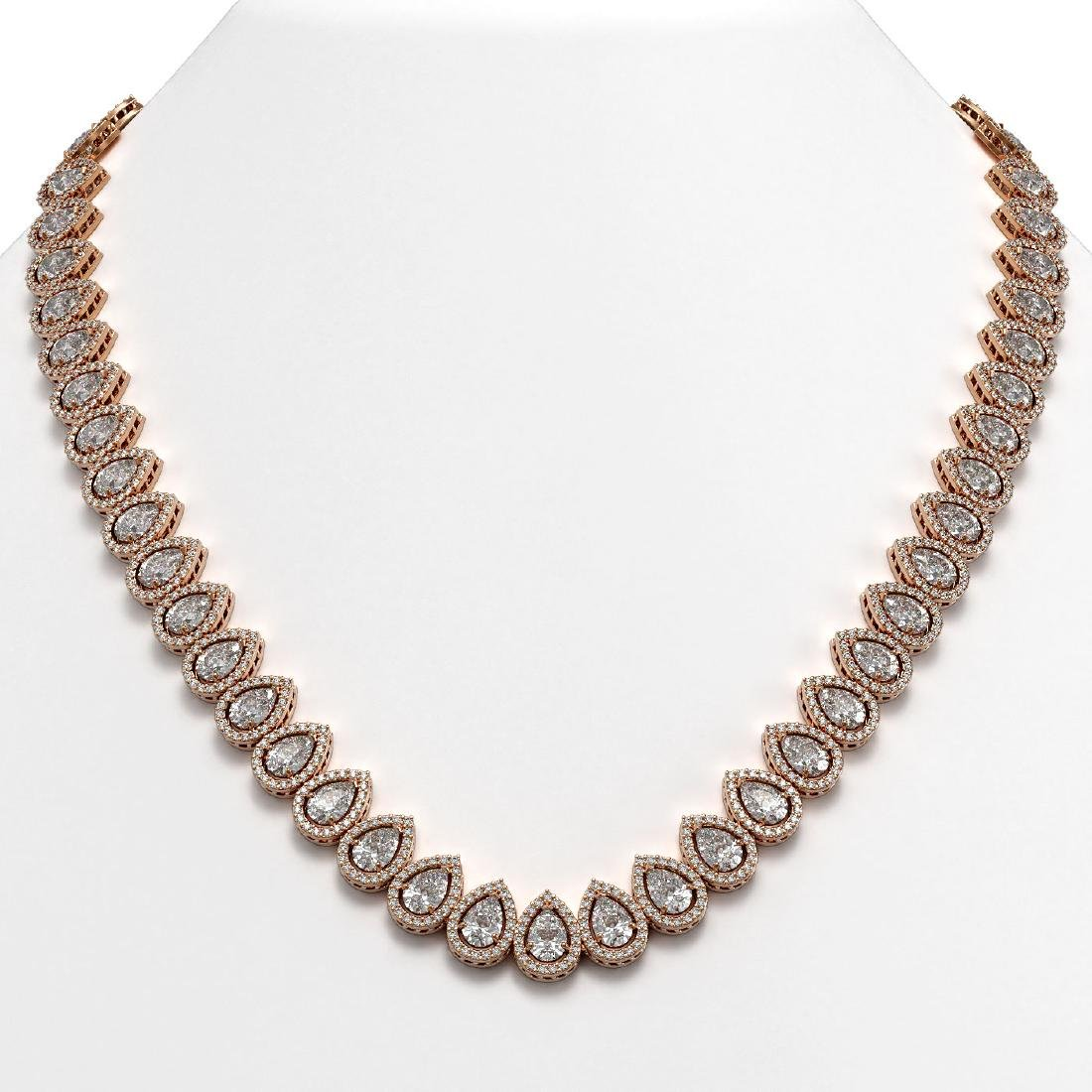 42.11 CTW Pear Diamond Designer Necklace 18K Rose Gold