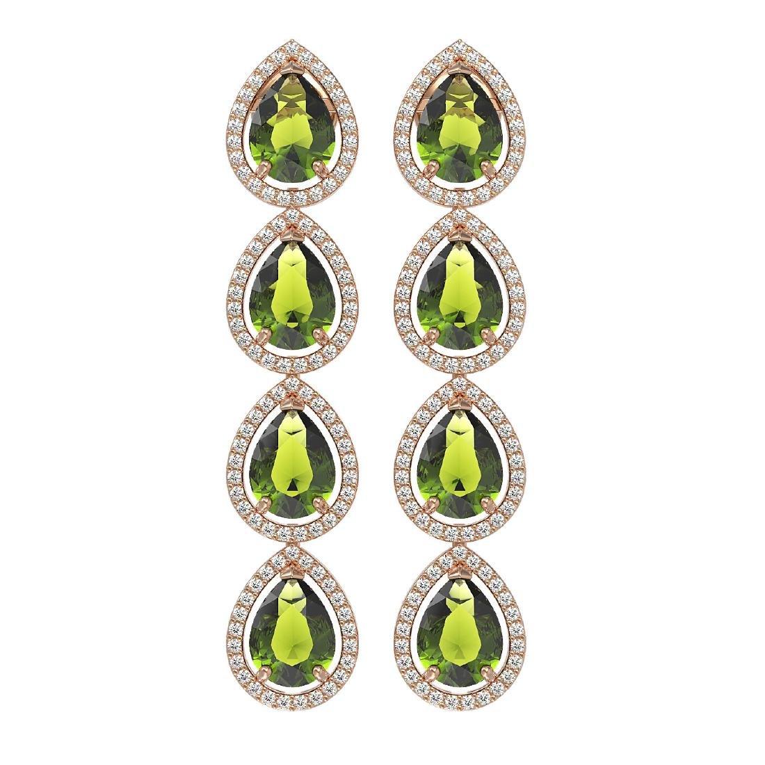 10.48 CTW Tourmaline & Diamond Halo Earrings 10K Rose