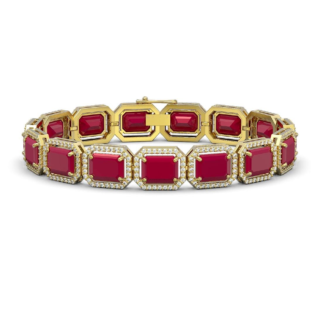 38.61 CTW Ruby & Diamond Halo Bracelet 10K Yellow Gold