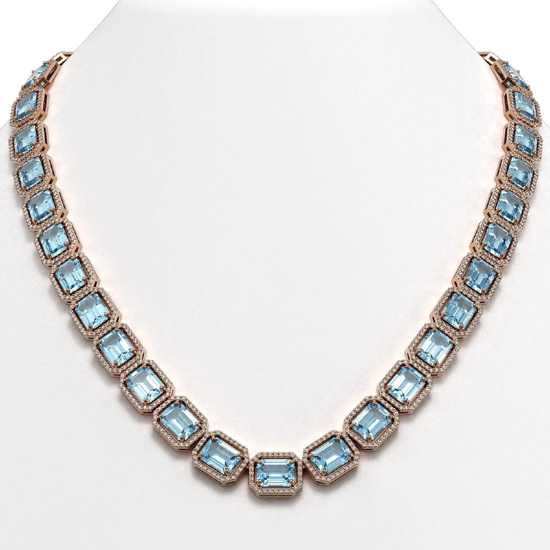 78.34 CTW Sky Topaz & Diamond Halo Necklace 10K Rose