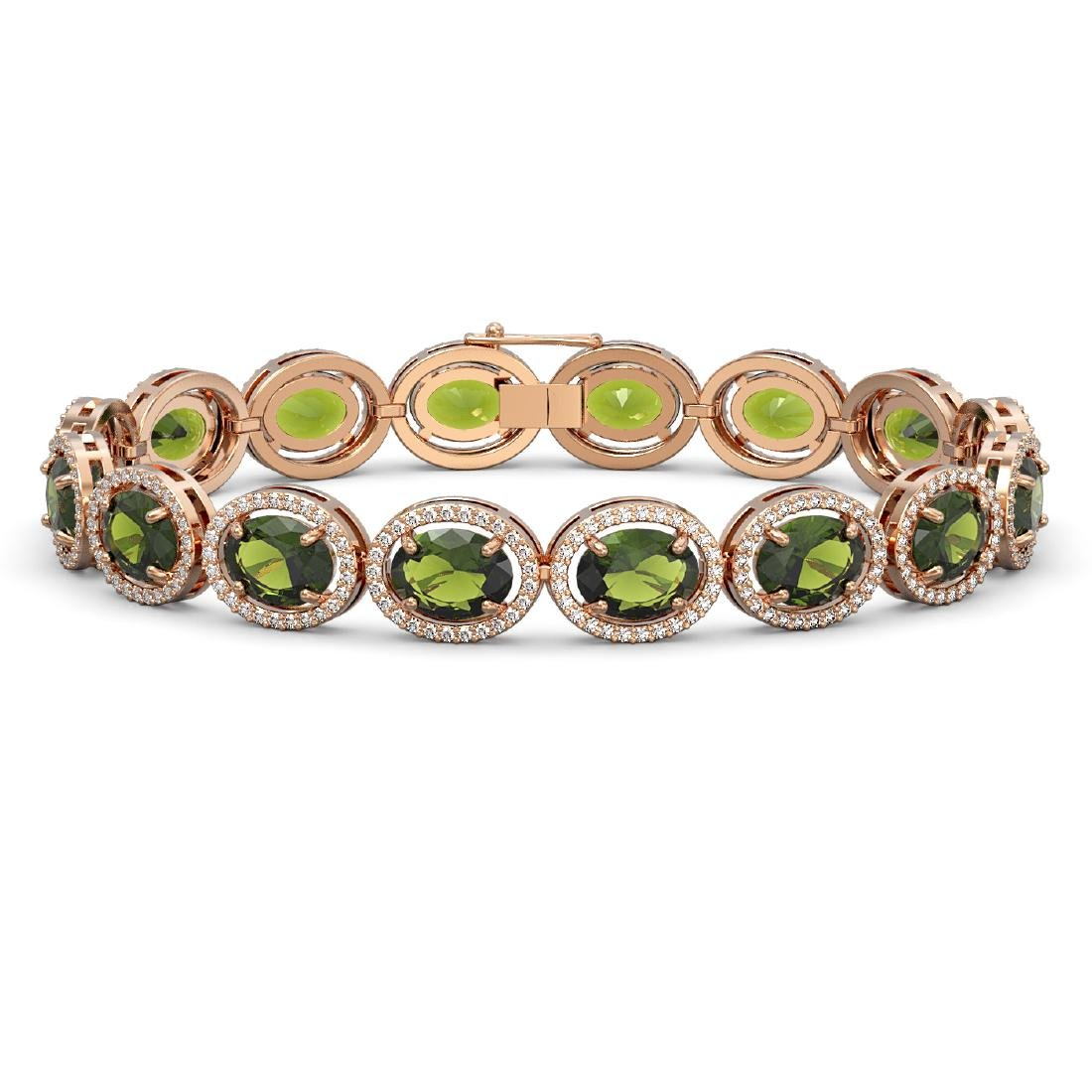 23.6 CTW Tourmaline & Diamond Halo Bracelet 10K Rose