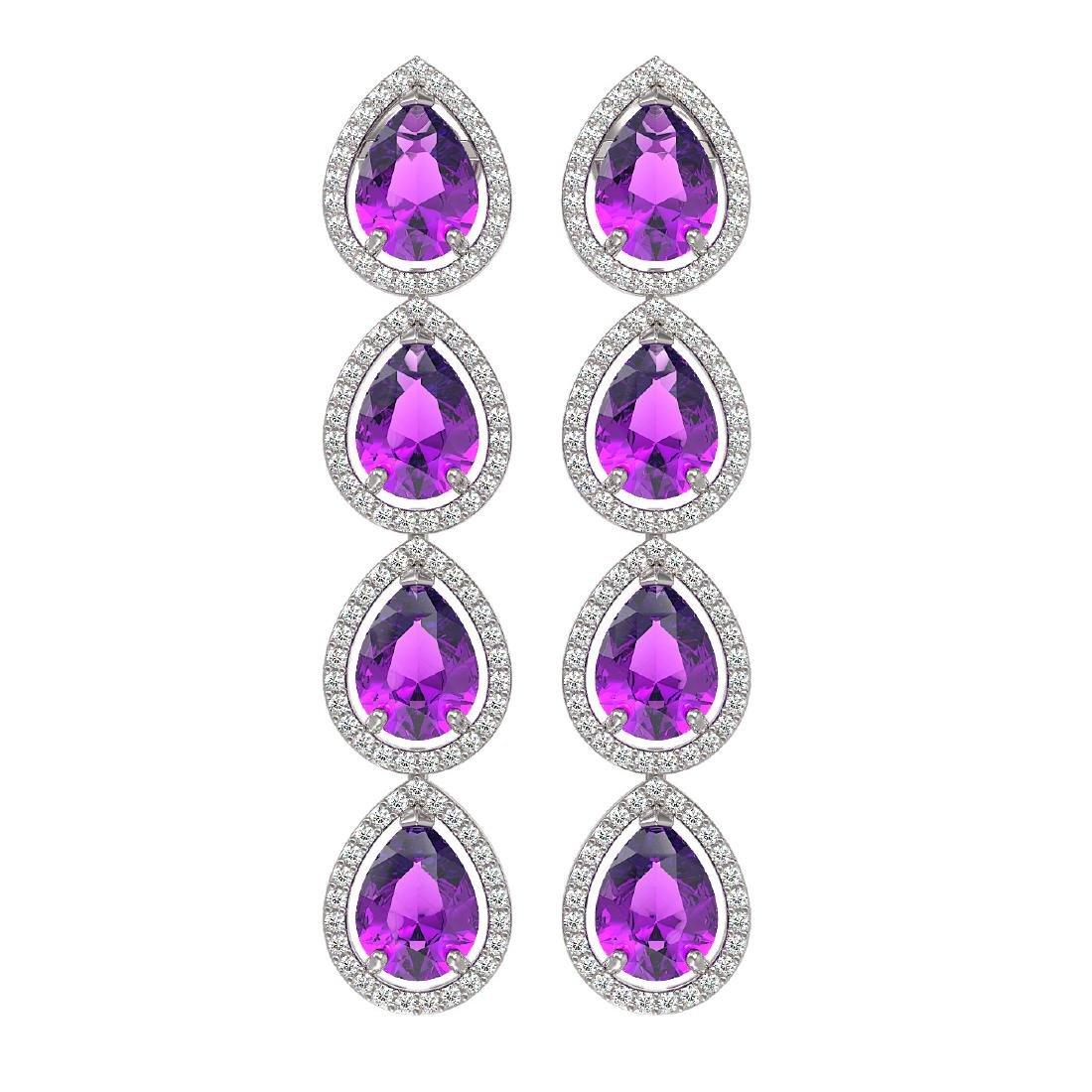 10.85 CTW Amethyst & Diamond Halo Earrings 10K White