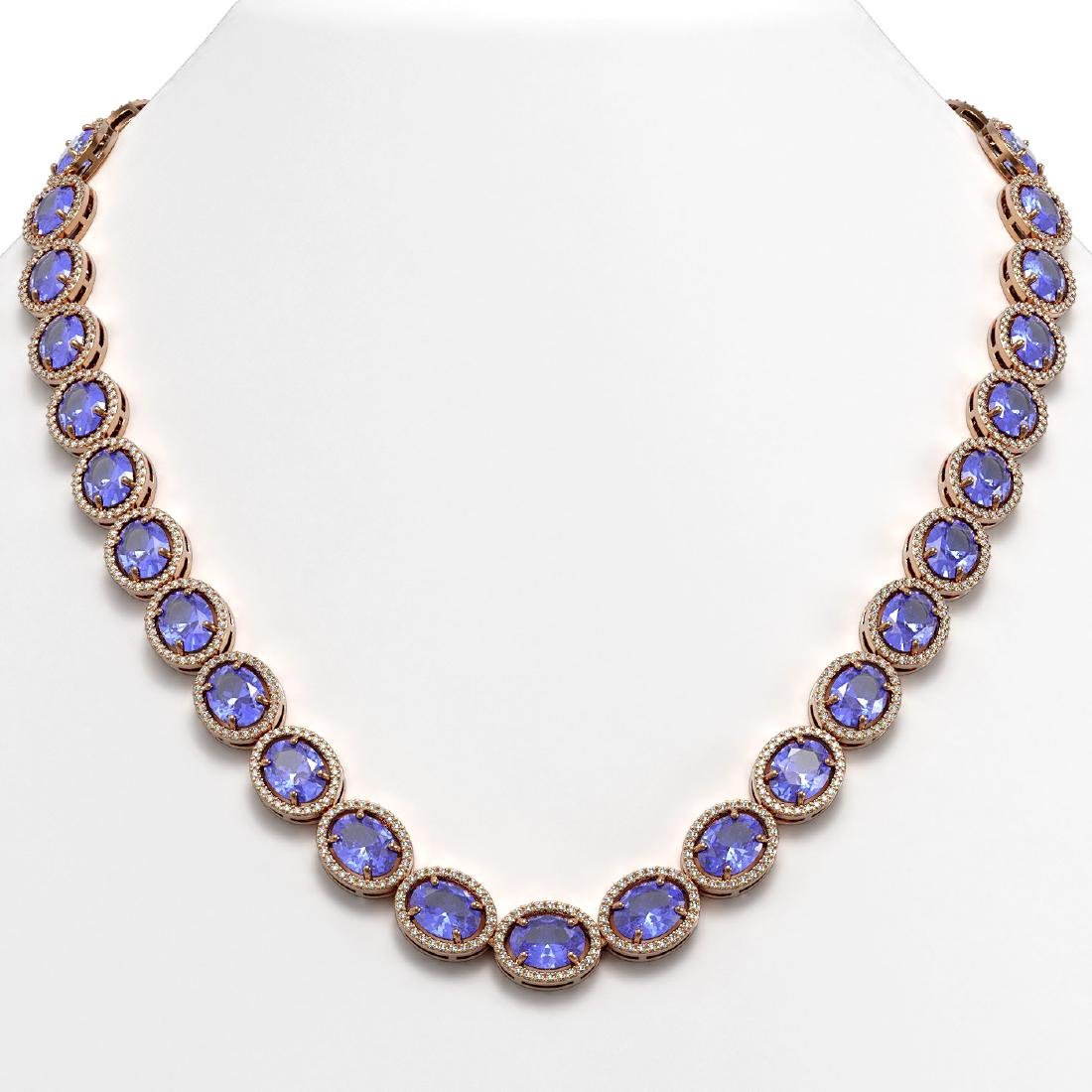 62.99 CTW Tanzanite & Diamond Halo Necklace 10K Rose