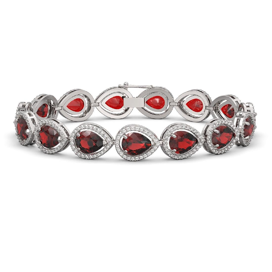 17.45 CTW Garnet & Diamond Halo Bracelet 10K White Gold